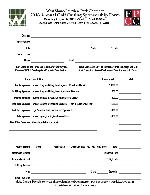 2018 Golf Outing Sponsorship Form